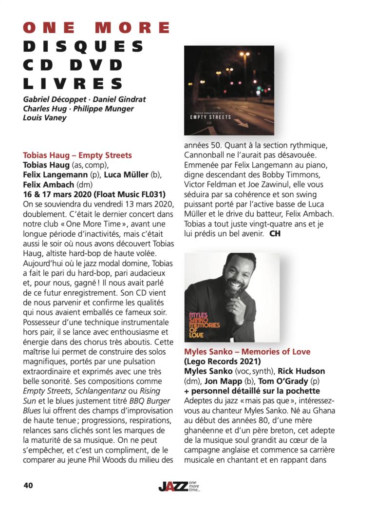 Tobias Haug Quartett CD Review - Empty Streets